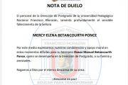 Nota de duelo Mercy Elena Betancourth